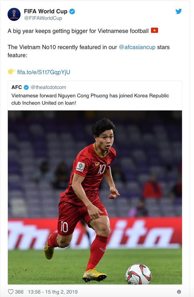 FIFA đánh giá rất cao Công Phượng