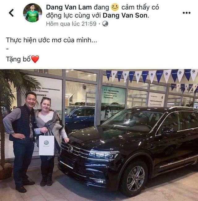 Đặng Văn Lâm mua xế hộp biếu bố mẹ