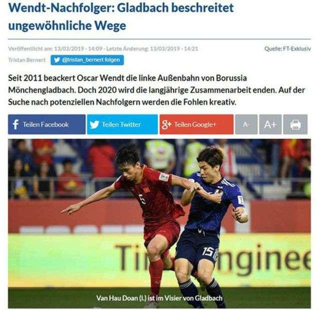 Báo chí Đức dành sự quan tâm đặc biệt đến Đoàn Văn Hậu
