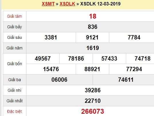 Quay thử XSDLK 12/3/2019