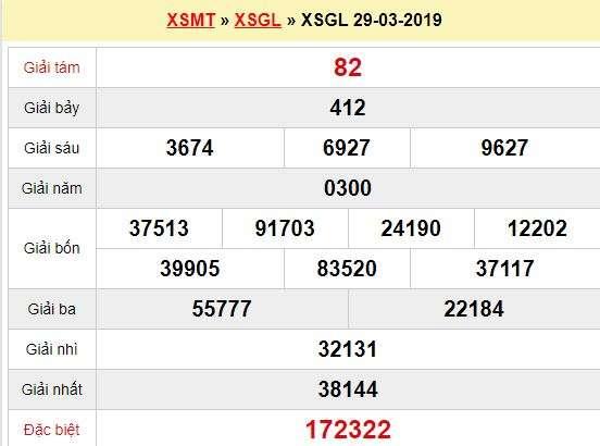 Quay thử XSGL 29/3/2019