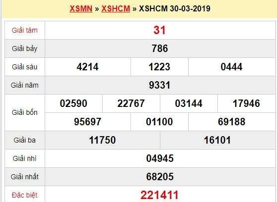 Quay thử XSHCM 30/3/2019