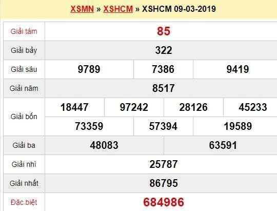 Quay thử XSHCM 9/3/2019