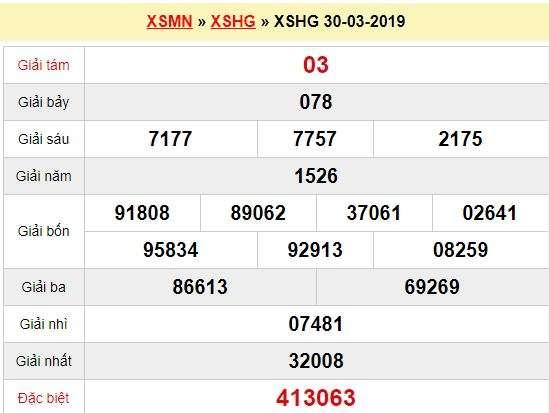 Quay thử XSHG 30/3/2019