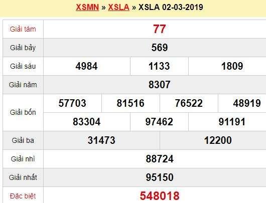 Quay thử XSLA 2/3/2019