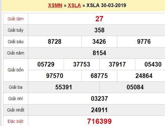 Quay thử XSLA 30/3/2019