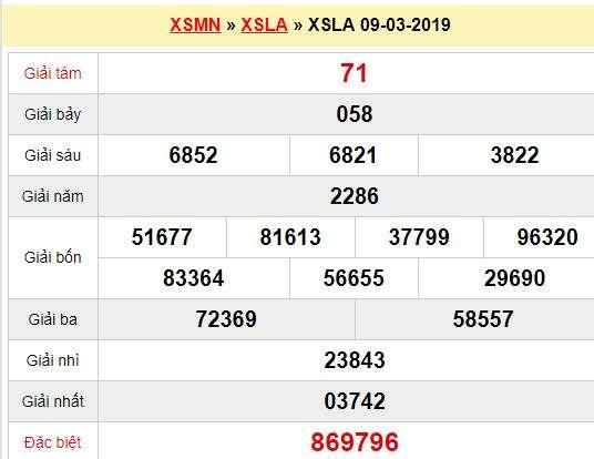 Quay thử XSLA 9/3/2019