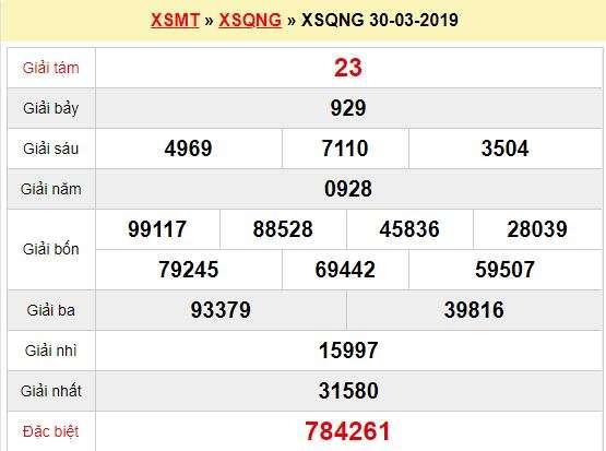 Quay thử XSQNG 30/3/2019