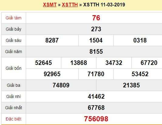 Quay thử XSTTH 11/3/2019
