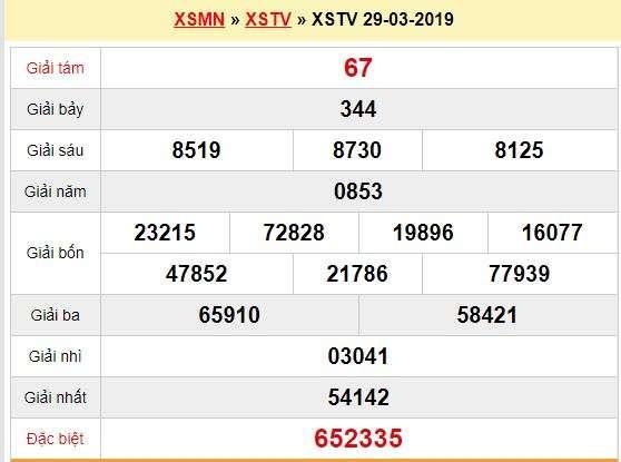 Quay thử XSTV 29/3/2019