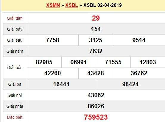 Quay thử XSBL 2/4/2019