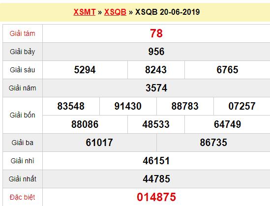 Quay thử XSQB 20/6/2019