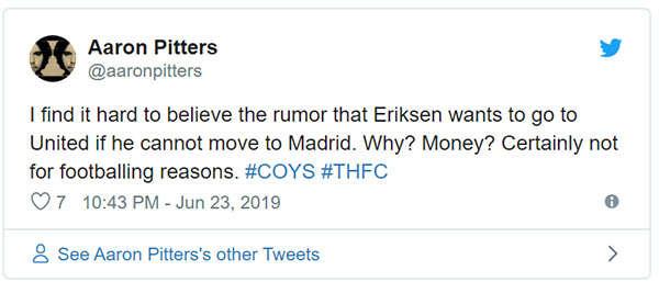 Thật khó tin Eriksen muốn đến MU nếu không thể tới Madrid. Tại sao? Tiền ư? Chắc chắn không phải vì lý do bóng đá