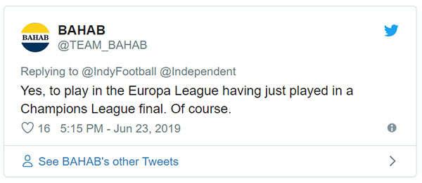 Vâng chơi ở Europa League, sau khi vừa đá chung kết Champions League