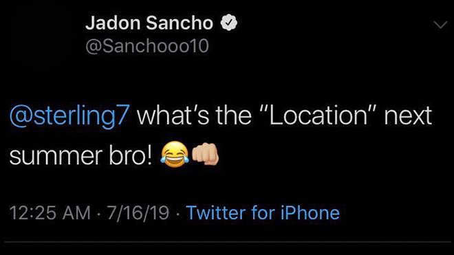 Dòng trạng thái của Jadon Sancho trước khi bị xóa đi