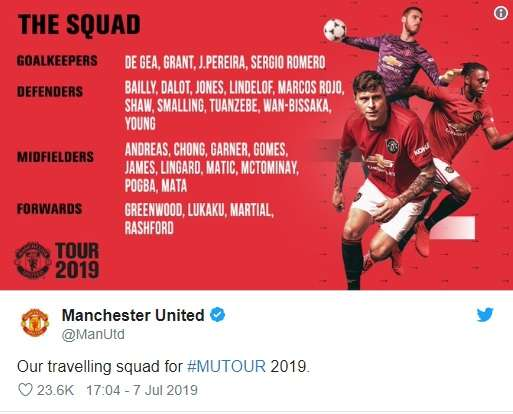 Trang chủ MU xác nhận danh sách cầu thủ tham dự chuyến du đấu Hè 2019