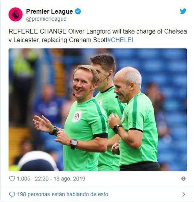 Ban tổ chức Premier League thông báo thay đổi trọng tài trước trận đấu giữa Chelsea và Leicester