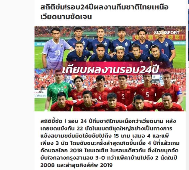 Tờ Siamsports  cho rằng đội tuyển Thái Lan áp đảo hoàn toàn trước Việt Nam trong quá khứ