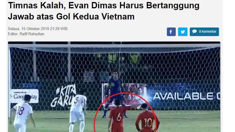 """Tờ Indosport giật tít: """"Evan Dimas phải chịu trách nhiệm về bàn thua thứ 2 của Indonesia"""""""