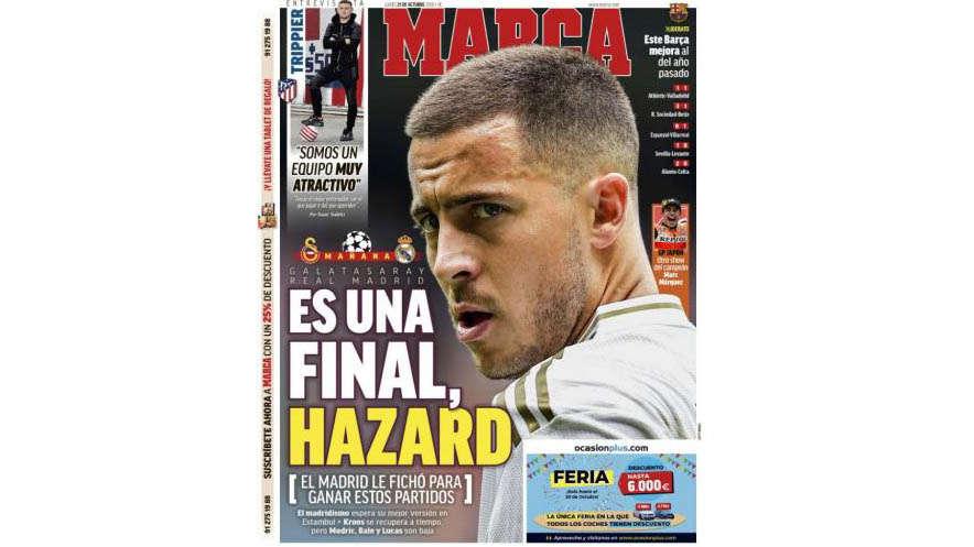 """Các tờ báo ở Tây Ban Nha dường như đã hết kiên nhẫn với Hazard. Tờ Marca (Tây Ban Nha) tuyên bố rằng Real Madrid đưa Hazard về là để giúp họ giành danh hiệu. Tờ báo này cũng cho rằng trận đấu với Galatasaray ở Thổ Nhĩ Kỳ vào hôm thứ Ba tới chính là trận """"chung kết"""" để Hazard thể hiện tài năng của mình."""