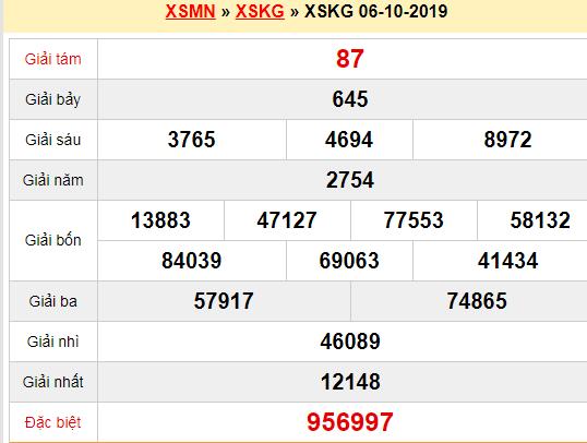 Quay thử XSKG 6/10/2019