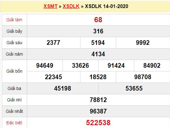 Quay thử XSDLK 14/1/2020