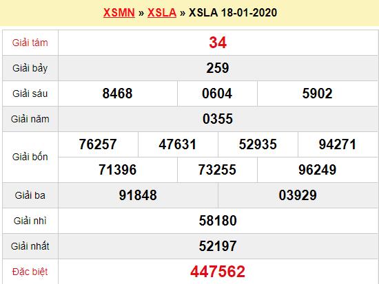 Quay thử XSLA 18/1/2020