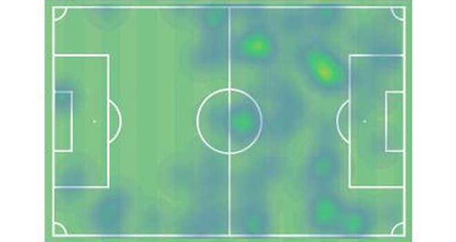 Biểu đồ nhiệt của Fernandes trong trận gặp Everton