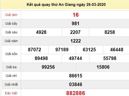 Quay thử XSAG 26/3/2020