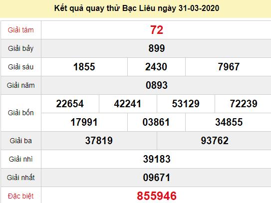 Quay thử XSBL 31/3/2020