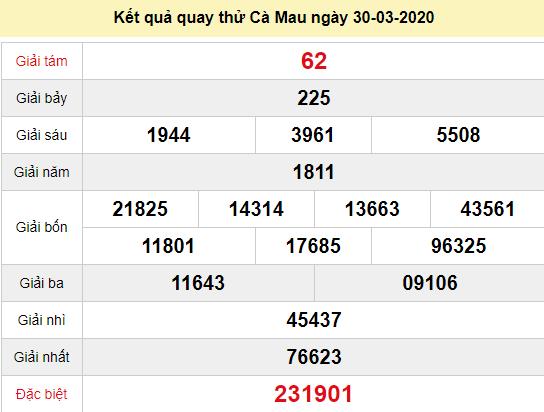 Quay thử XSCM 30/3/2020