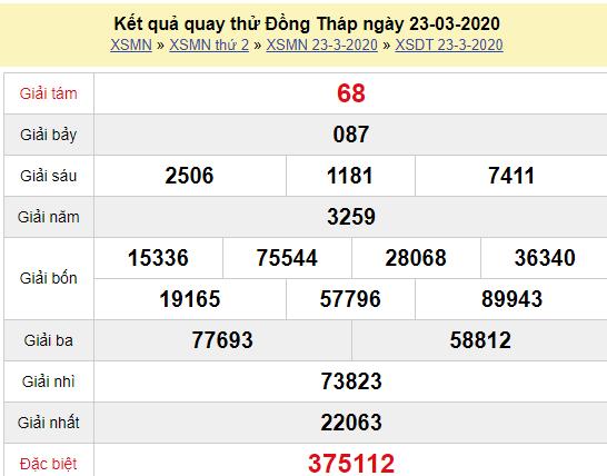 Quay thử XSDT 23/3/2020