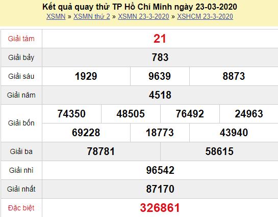 Quay thử XSHCM 23/3/2020