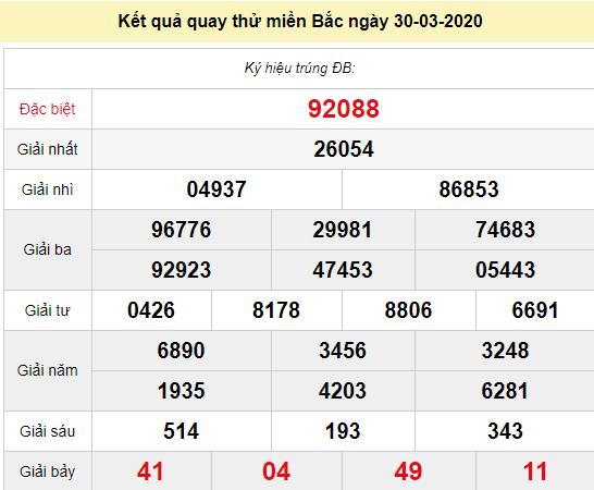 Quay thử XSMB 30/3/2020