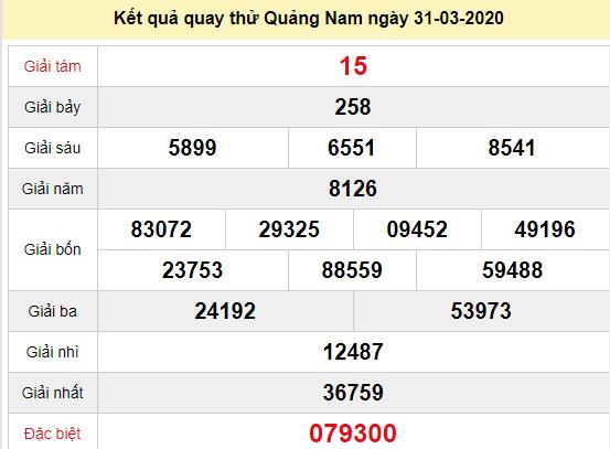 Quay thử XSQNM 31/3/2020