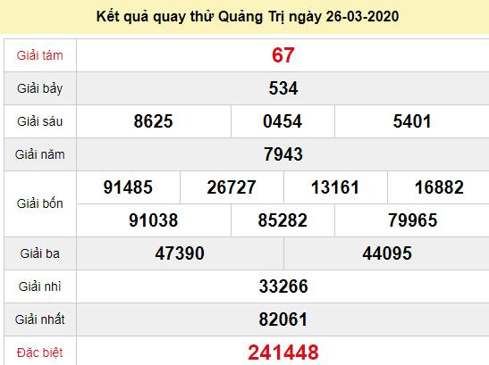 Quay thử XSQT 26/3/2020