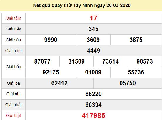 Quay thử XSTN 26/3/2020
