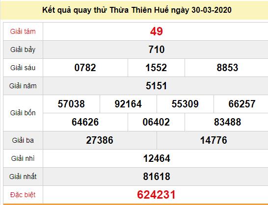 Quay thử XSTTH 30/3/2020